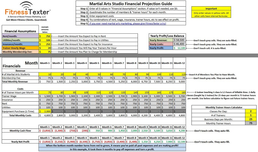 martial-arts-center-financial-forecast-excel-spreadsheet